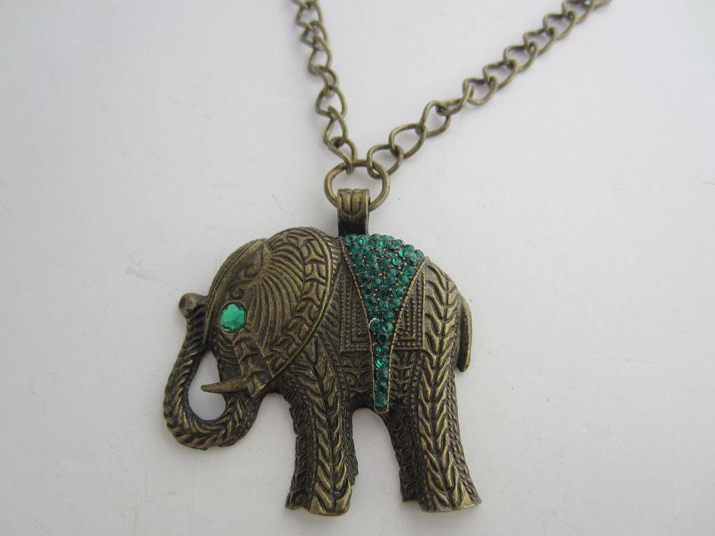 Elephant Pendant Necklace Ethnic Green Diamantes Burnished Bronze Tone Metal