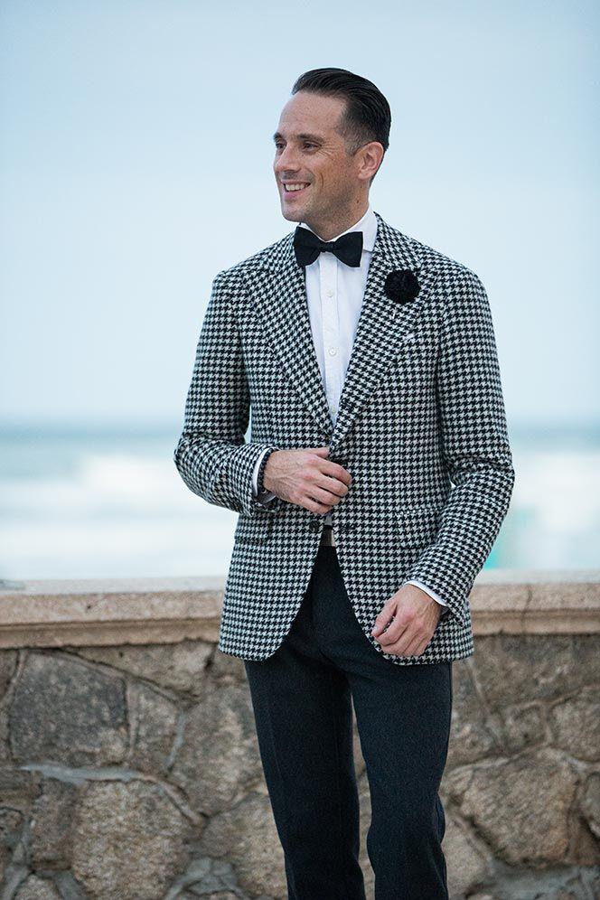 Houndstooth Blazer Men's Cocktail Attire Dress suits