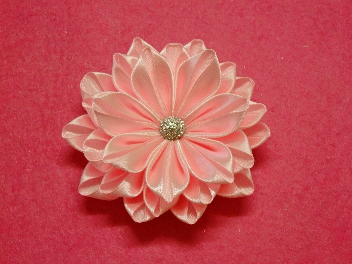 DIY Kanzashi flower ribbon flower tutorial how to easy kanzashi     DIY Kanzashi flower ribbon flower tutorial how to easy kanzashi flores d