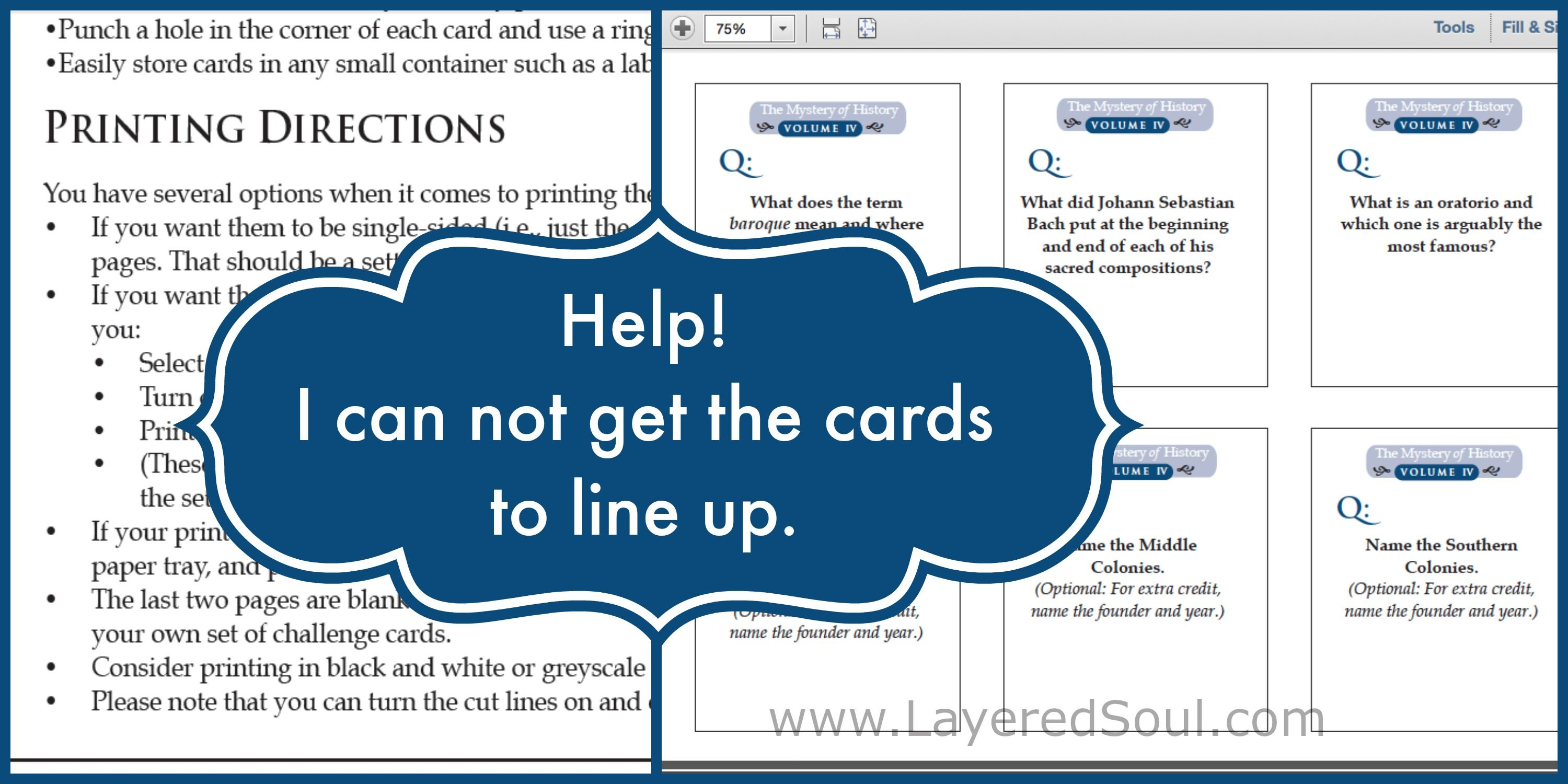 Printing Challenge Cards