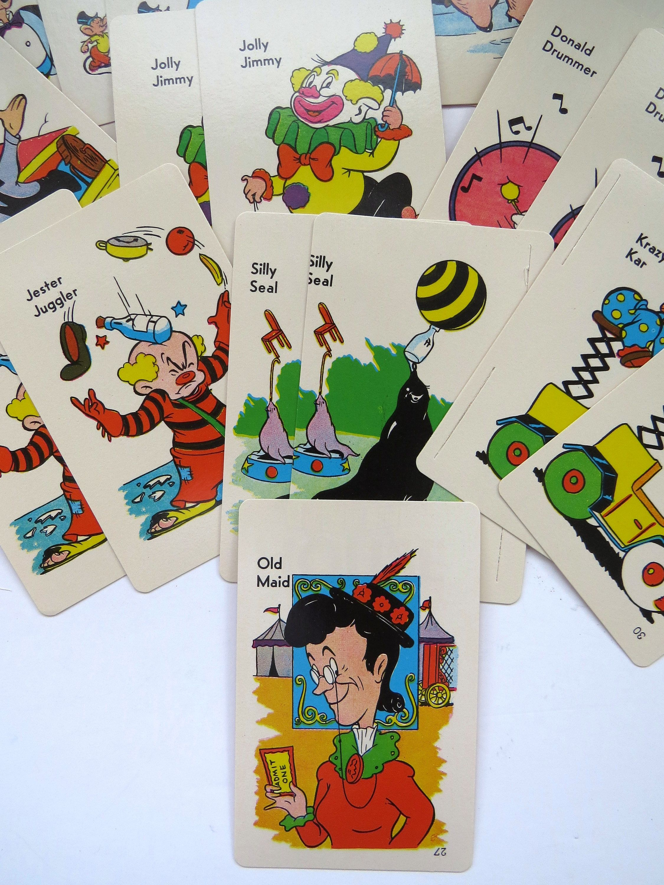 1959 old maid playing cards by ed u cards circus edition