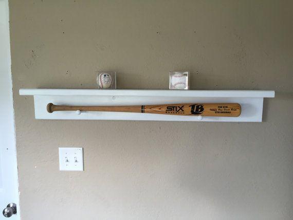 Handmade Wooden Baseball Bat Display Shelf