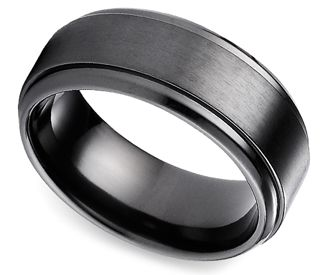 Step Edge Menu0027s Wedding Ring In Black Titanium. I Think Carlos Would Love  This :)