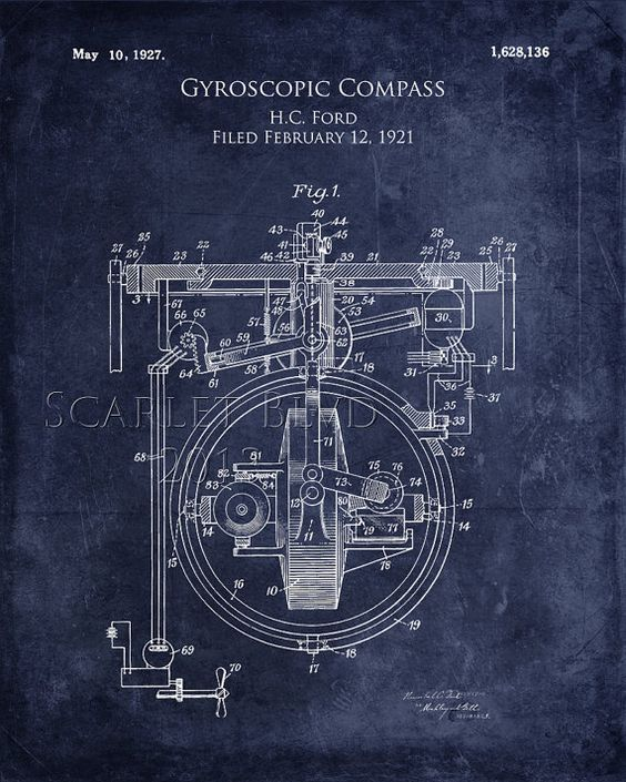 Gyroscopic compass patent drawing blueprints as art pinterest art collectibles print featuring the digital art gyroscopic compass patent print by sara harris malvernweather Images