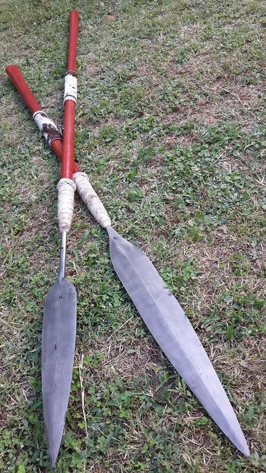Matching Zulu throwing and stabbing spears. Forged 5160 ...