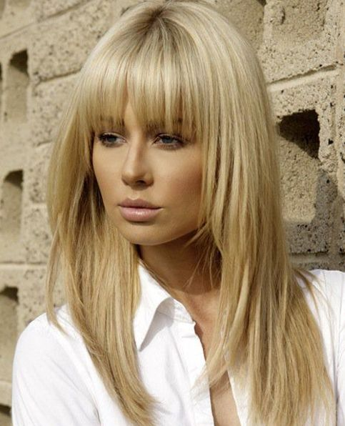 Full Fringe Long Hairstyles With Blonde Shades Full Dose Blonde Hair With Bangs Hair Styles Medium Hair Styles