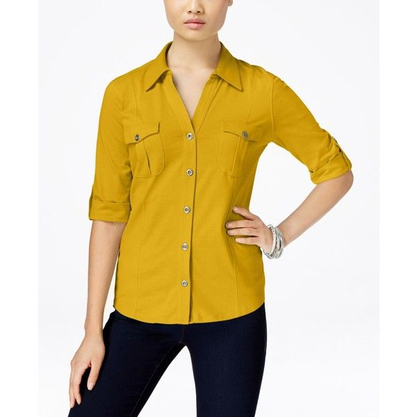 Style & Co. Petite Jersey Utility Shirt, ($18) ❤ liked on Polyvore featuring tops, saffron yellow, utility shirt, beige top, work shirts, yellow top and petite tops