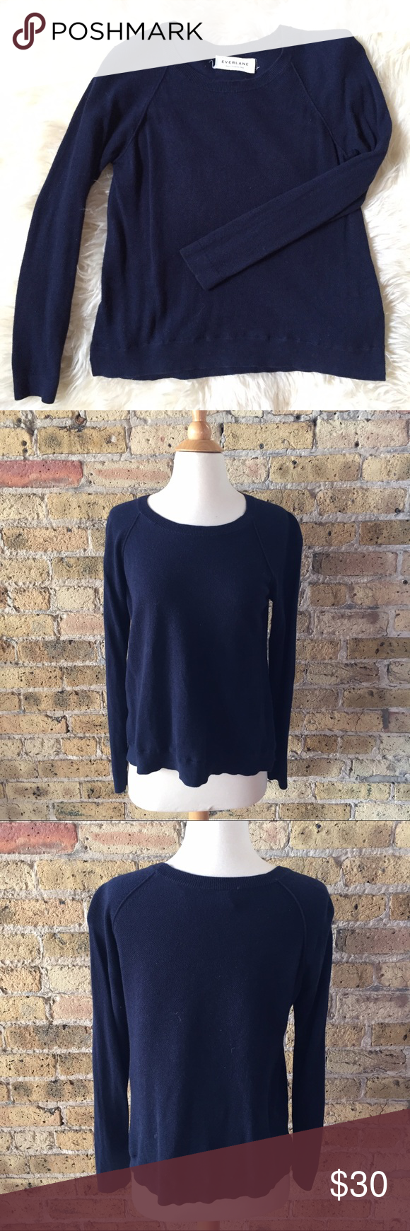 Everlane cotton cashmere navy crew sweater S | Cashmere, Cashmere ...