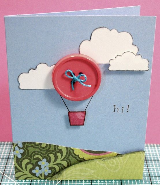 """Hot air balloon-- cute """"thank you"""" note"""