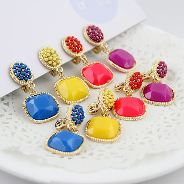 Hot sell fashion rhinestone colorful clip earring free shipping