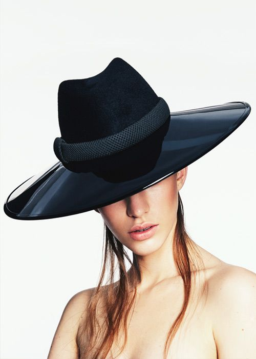 Large Black Brim | Label: Keely Hunter Millinery | Autumn/Winter 2014, Thermal Bridge Collection | Bridging her signature style with winter textures, Hunter mixes clean design with structural knits and fabrics to create a collection defined by its strong sense of warmth and protection