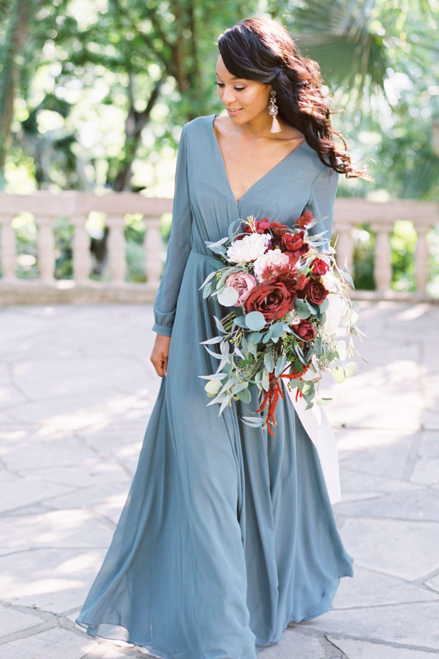 Juliet chiffon long sleeve dress chiffon bridesmaid dresses