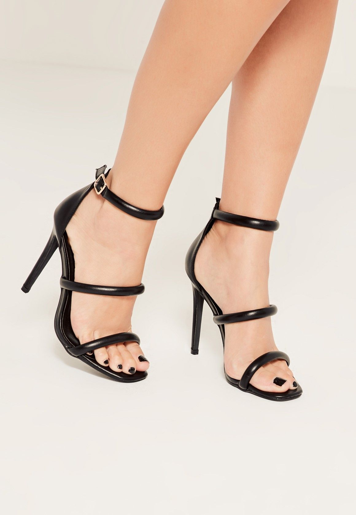 Black Three Strap Barely There Heeled