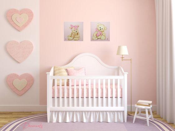 tableau-enfant-bebe-fille-ours-oursonne-peluche-beige-marron