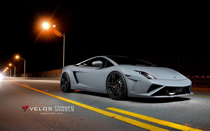 Download Wallpapers Lamborghini Gallardo, Supercars, Velos Wheels, Tuning,  Gray Gallardo, Velos
