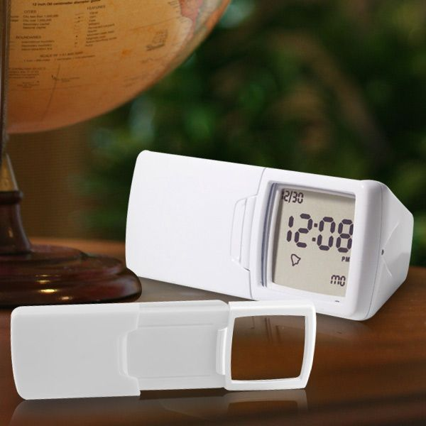 @ShopAndThinkBig.com - The Digital Calendar Clock And Light-Up Magnifier Is An Ultra-Compact 3-In-1 Digital Alarm Clock, Calendar, And Light-Up Magnifier That Is Is Perfect For Desktop, Bedside, Or Travel. Position It Face Forward Or Face Up And The Lcd Screen Will Automatically Rotate 90 Degrees - So There's Never An Awkward Viewing Angle For The Time, Day, Or Date. When Needed, The Led-Illuminated 2X Lens Slides Out Of The Housing To Make Small Print And Repair Projects Easier To See…