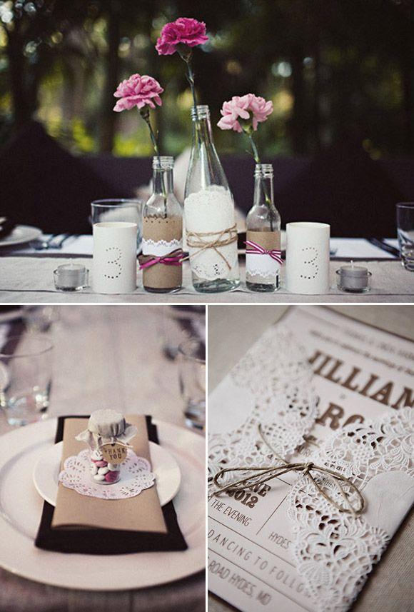 decoración para boda vintage usando blondas de papel | decoraciones