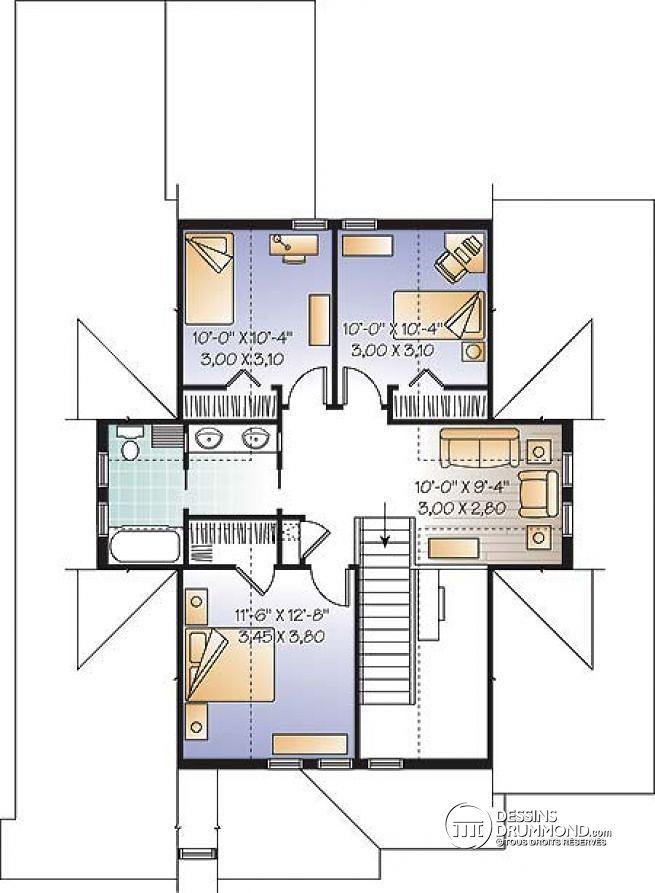 Plan de Étage Plan de Maison pour terrain étroit, style Craftsman, 4