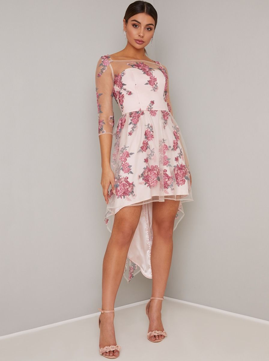 CHI CHI Nude Pink Floral Lace Overlay Dress With Dipped