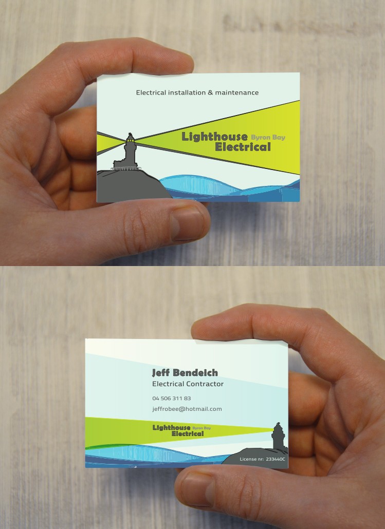 Business cards Lighthouse Electrical in Byron Bay Australia ...