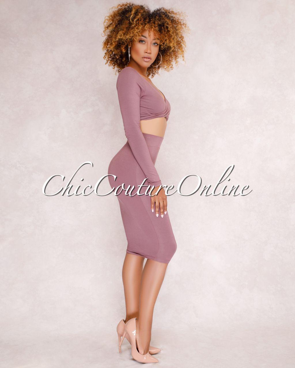 82e186118f7a8 Kaitlyn Mauve Crop Top   Skirt Two Piece Set