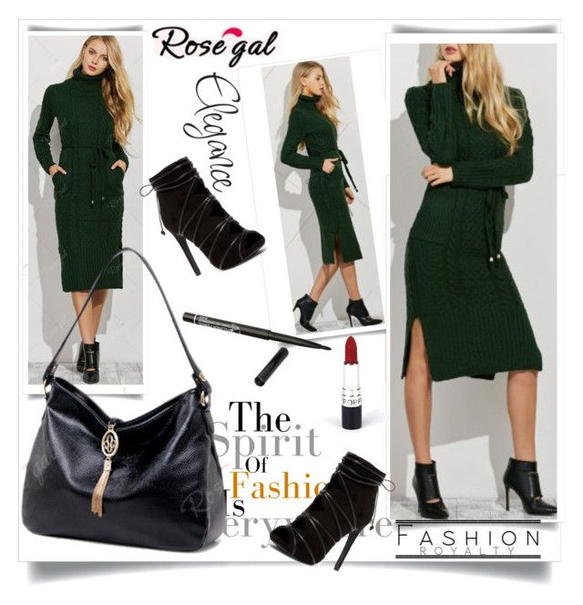 """""""Cable Knit Side Slit Belted Dress"""" by fashionb-784 ❤ liked on Polyvore featuring fashionable and rosegal"""