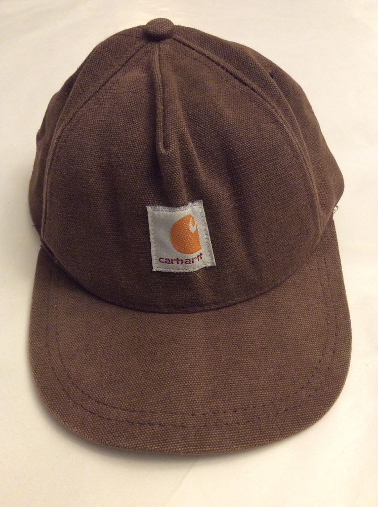 Carhartt Hat Youth Brown Vintage Adjustable SnapBack 100% Cotton Made In  USA  fashion   d0537677a4e