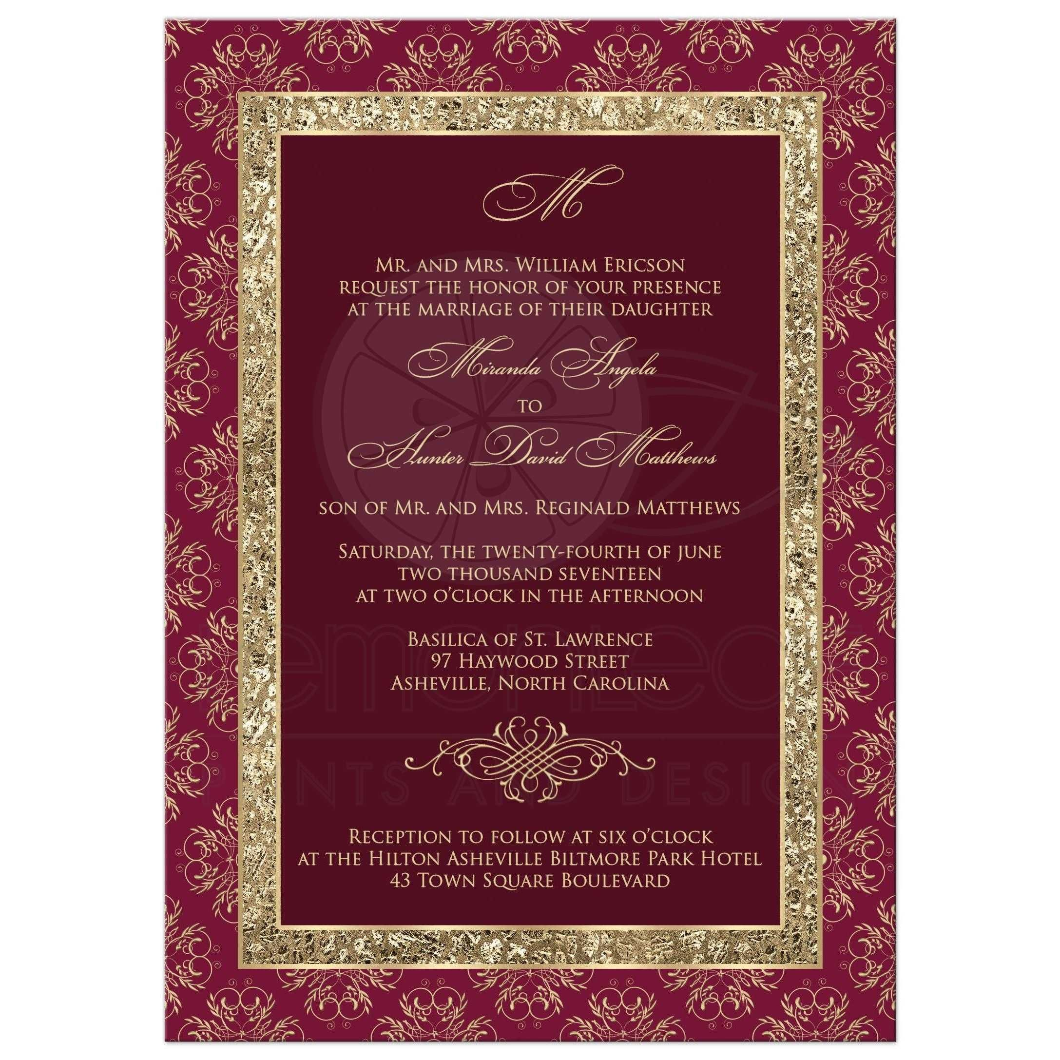 Wedding Invitation Burgundy Gold Elegance Monogram Scroll
