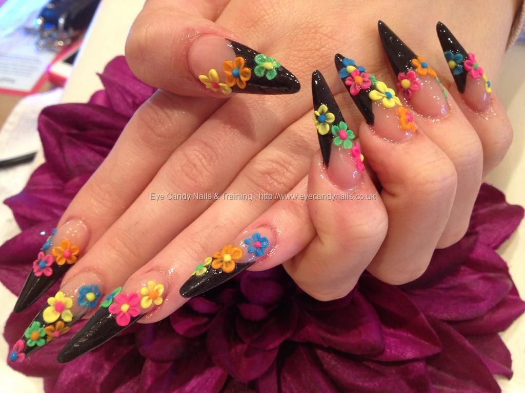 Black sculptured stiletto tips with freehand 3d acrylic flower black sculptured stiletto tips with freehand 3d acrylic flower nail art prinsesfo Image collections
