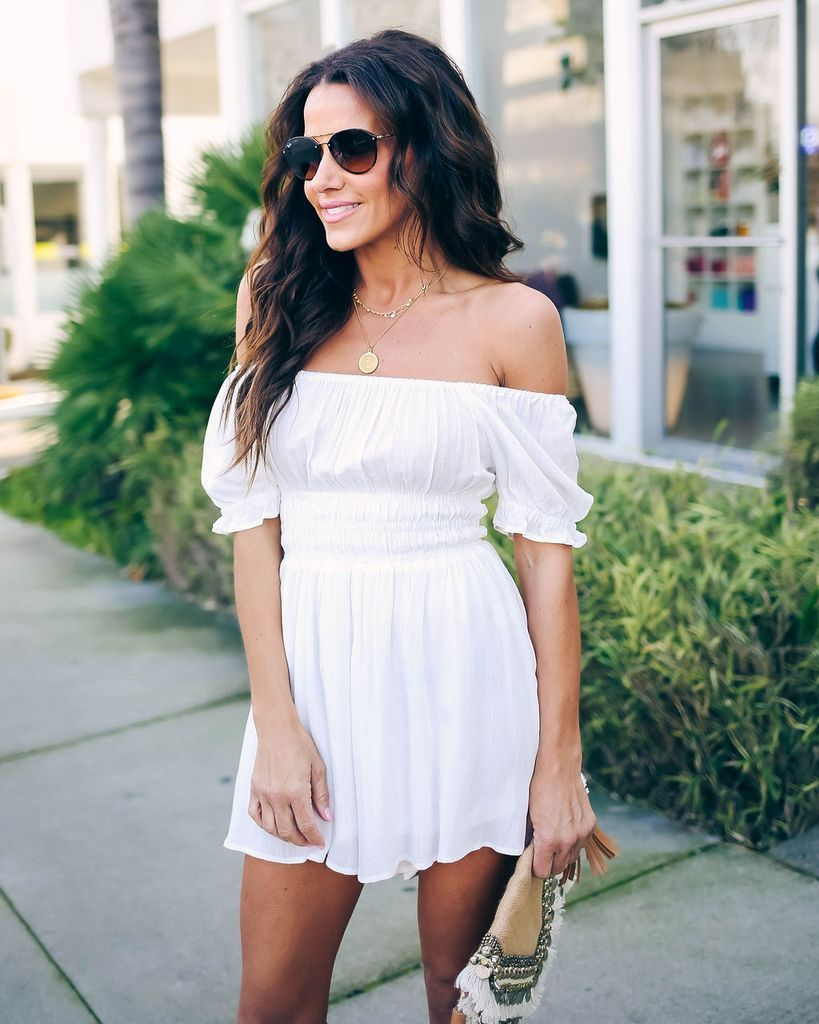 27940b5b0f70 Dance In The Sun Cotton Off The Shoulder Romper - Off White - FINAL ...