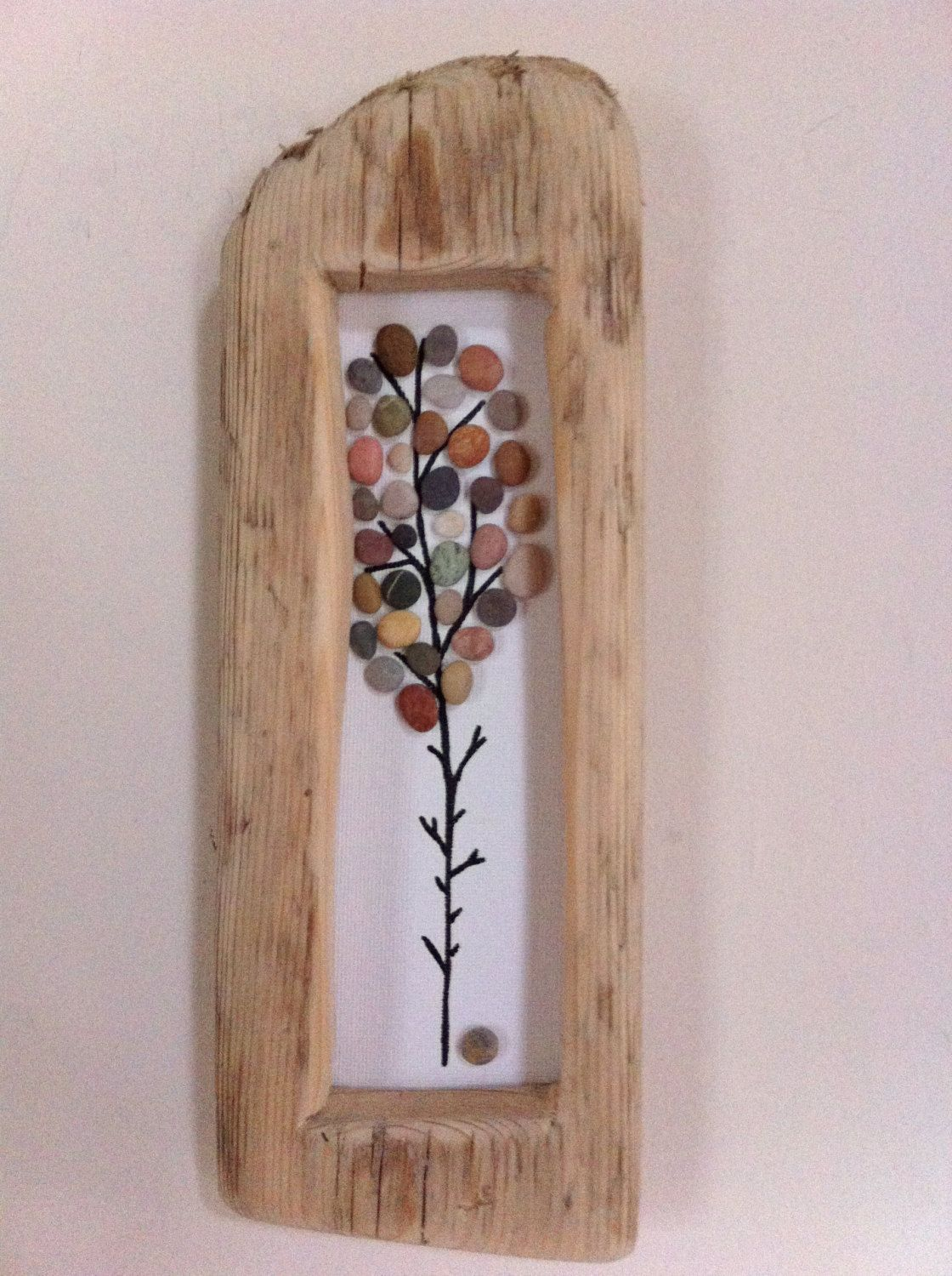 Tall Tree Beach Pebble Picture In Natural Driftwood Pebble Art Hanging Wall Art Driftwood Art