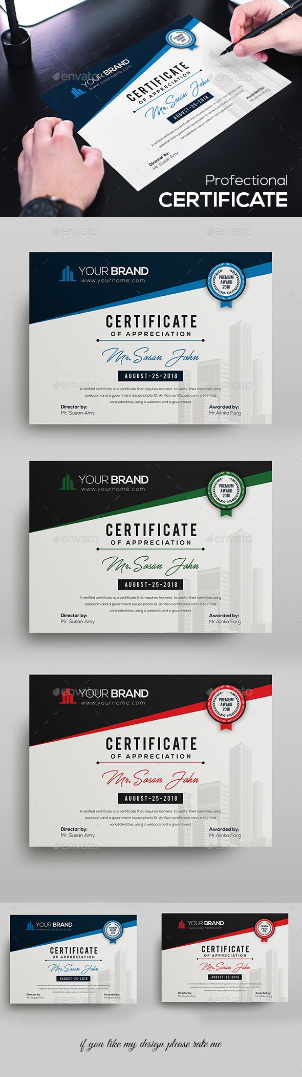Certificate Design Template PSD. Download   Certificate Templates ...