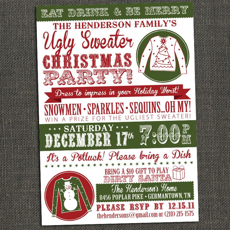 Ugly Sweater Christmas Party Invitation - Printable or Printed for - christmas dinner invitations templates free