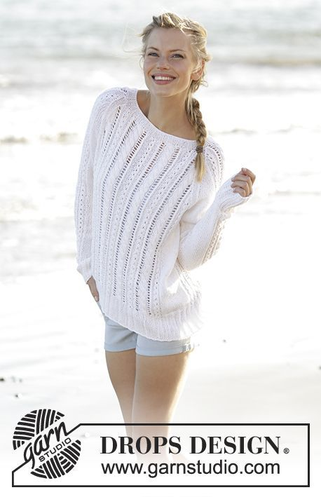 Skipper jumper with cables, raglan and lace pattern by DROPS Design ...