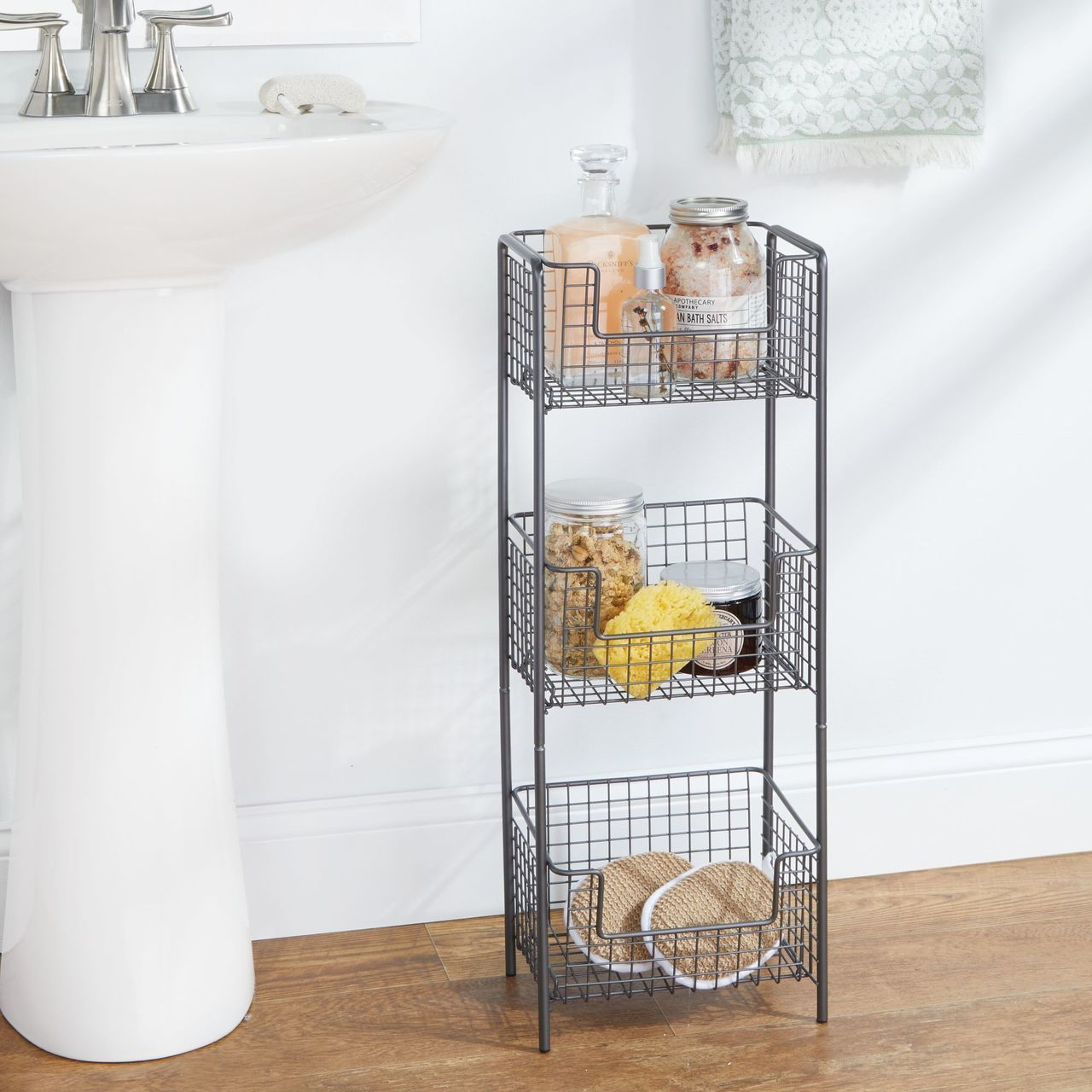 3 Tier Wire Free Standing Bathroom Storage Shelf Bathroom