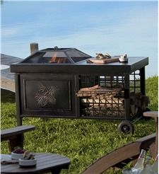 Deluxe Rolling Wood-Burning Fire Pit with Pine Cone Motif