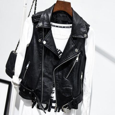 5eda081c13f9e5 Plus Size Black Sleeveless Pu Leather Jackets Winter Jacket Women Pu Belt  Veste Motorcycle Jacket Waistcoat Vest Rivet Vests