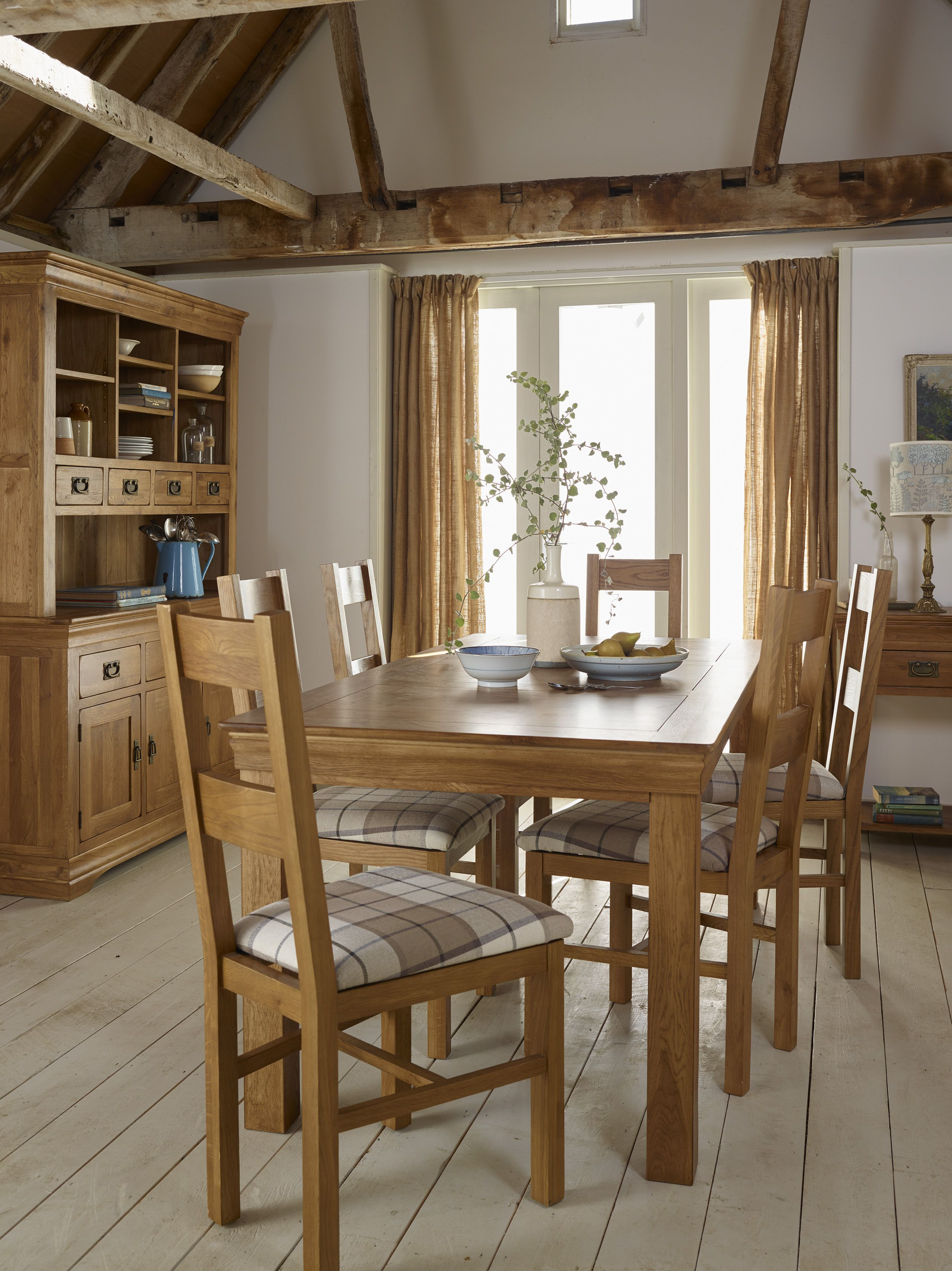 French farmhouse rustic solid oak dining set 5ft table