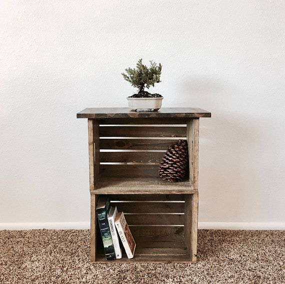 Reclaimed Wood Crate Nightstand Side Table Crate Nightstand