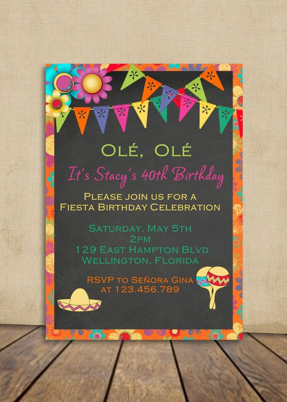 Adult Mexican Fiesta Birthday Invitation Chalkboard Invite ...