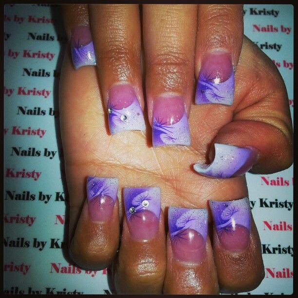 Pretty Pink And White C Cute Curved Acrylic Nails By Kristy Glitter Light Dark Purple Airbrush