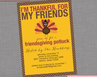 backyard potluck | ... Invitation - DIY Printable Fall Friends Thanksgiving Potluck Inviation