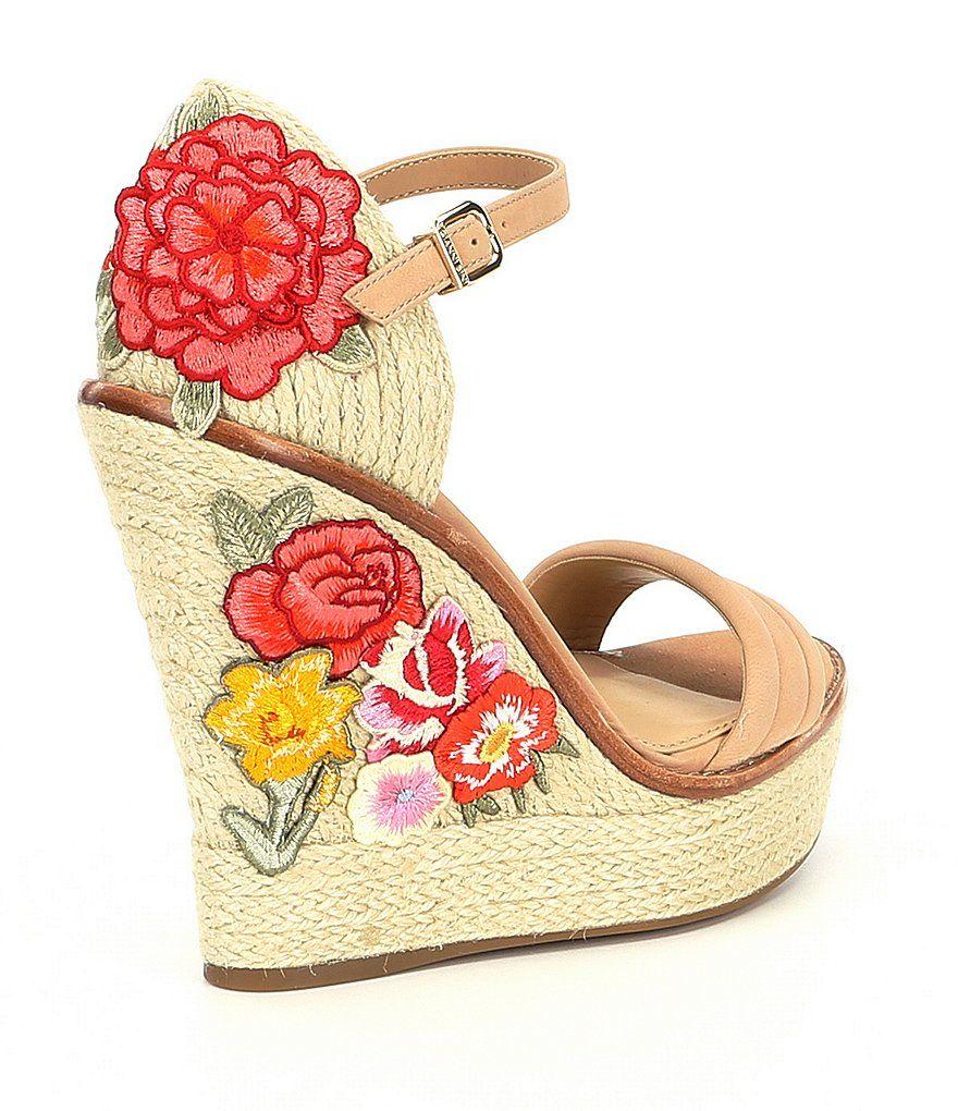 171cec9b8837 Gianni Bini Matonka Floral Embroidered Espadrille Wedges