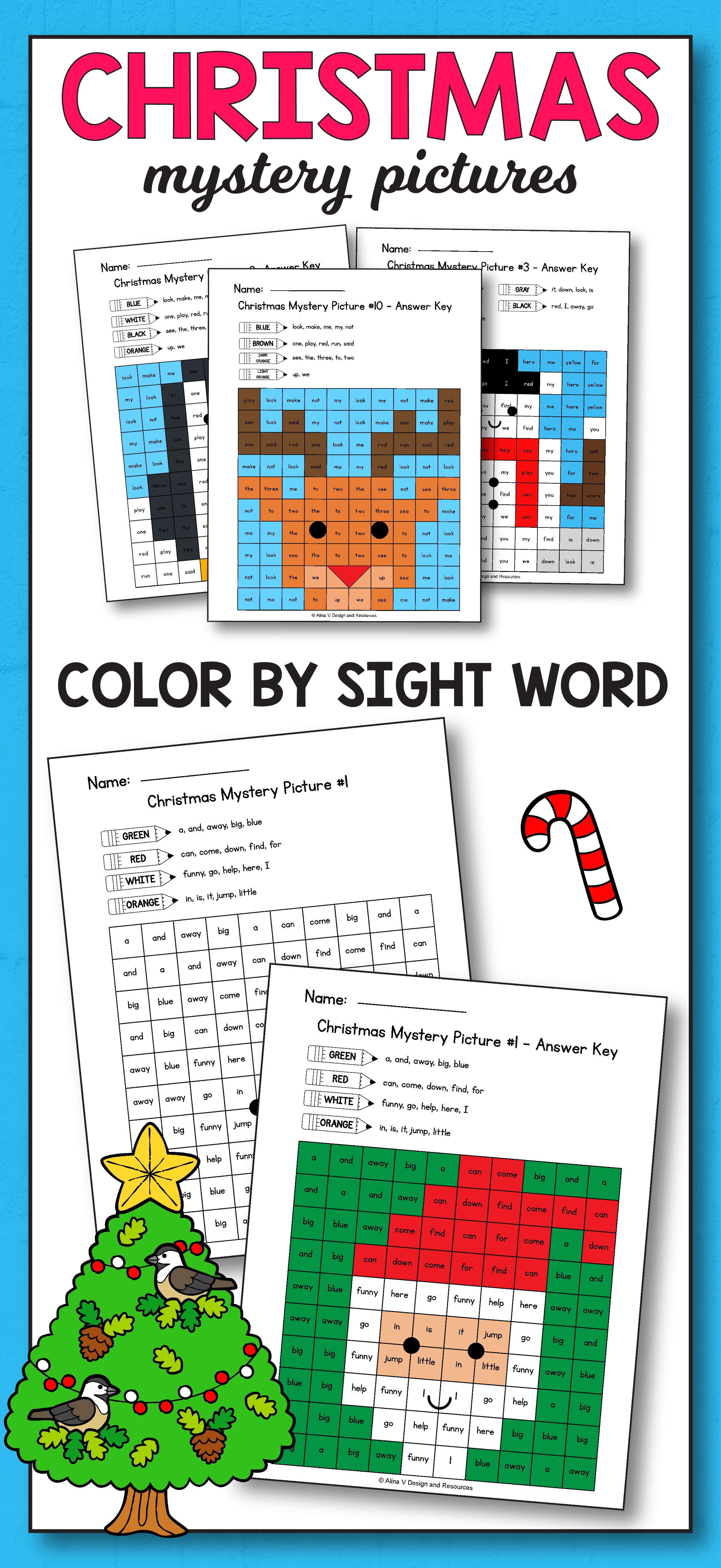 Christmas Color By Sight Word Pre Primer