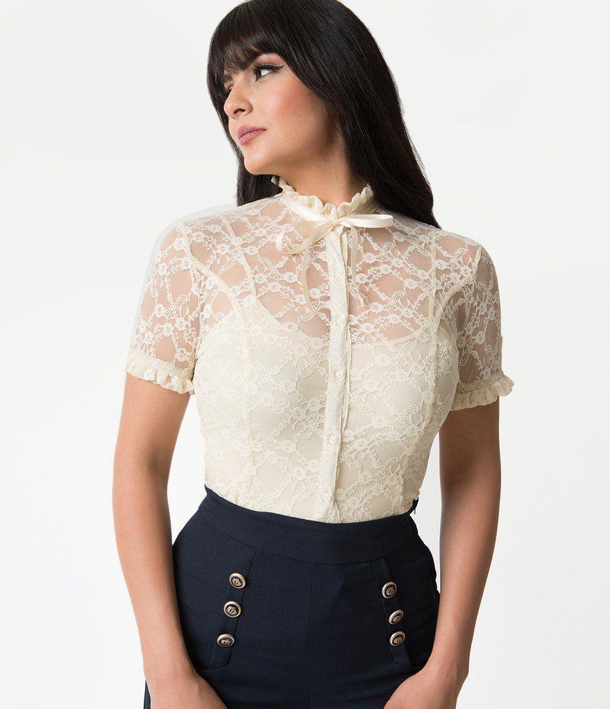 270f2d5ec81e38 Cream Lace Button Up Short Sleeve Lilette Blouse in 2019   Dream ...