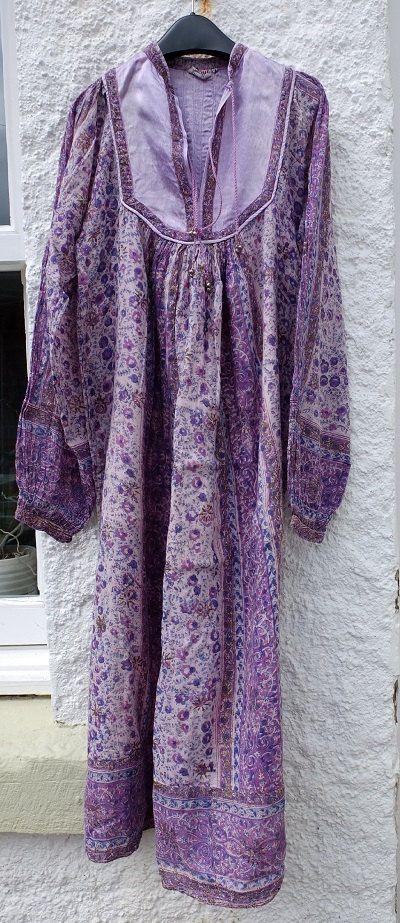 Vintage 70s Indian Gauze  Hippie Dress