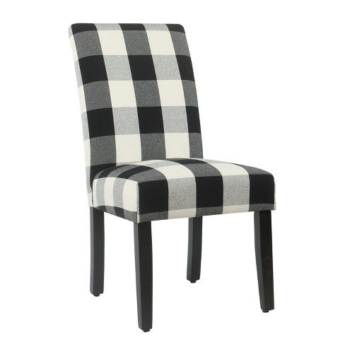Best Set Of 2 Parsons Dining Chair Blue Plaid Homepop 400 x 300