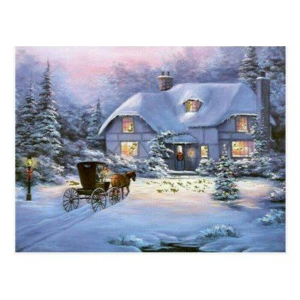 Thomas Kinkade Christmas Cottage 2020 Winter Christmas Cottage Holiday Postcard | Zazzle.in 2020