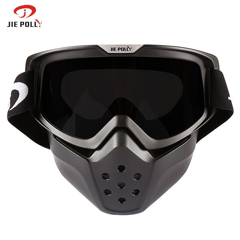 Motorcycles Glasses Motocross Goggle Glasses Detachable Face Vintage Half Helmet