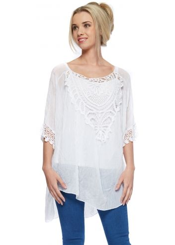 397d30870a18b Monton White Silk Crochet Detail Tunic Top